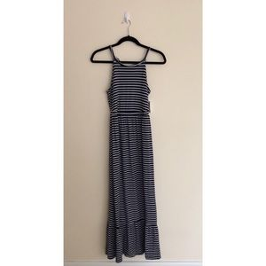 Old Navy Sleeveless Knit Navy Striped Maxi Dress